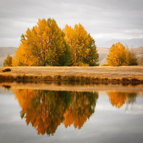 Autumn reflections in the lake between Queenstown and Arrowtown on the South Island, New Zealand