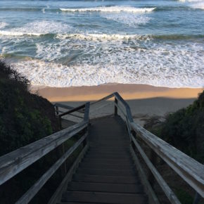 Stairs leading to beach at Bells Beach, Torquay, Great Ocean Road